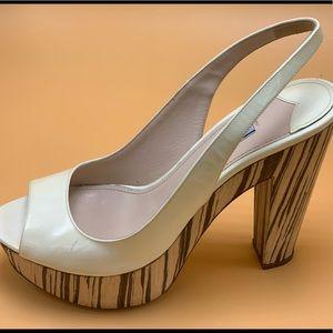 Prada White Patent Striped Wood Platform Size 39